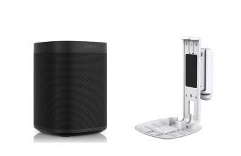Sonos One Gen 2 (Black) & Flexson S1WM (White)