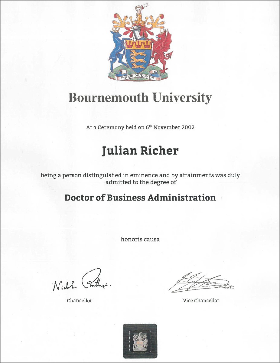 Bournemouth University's Honorary Doctorate