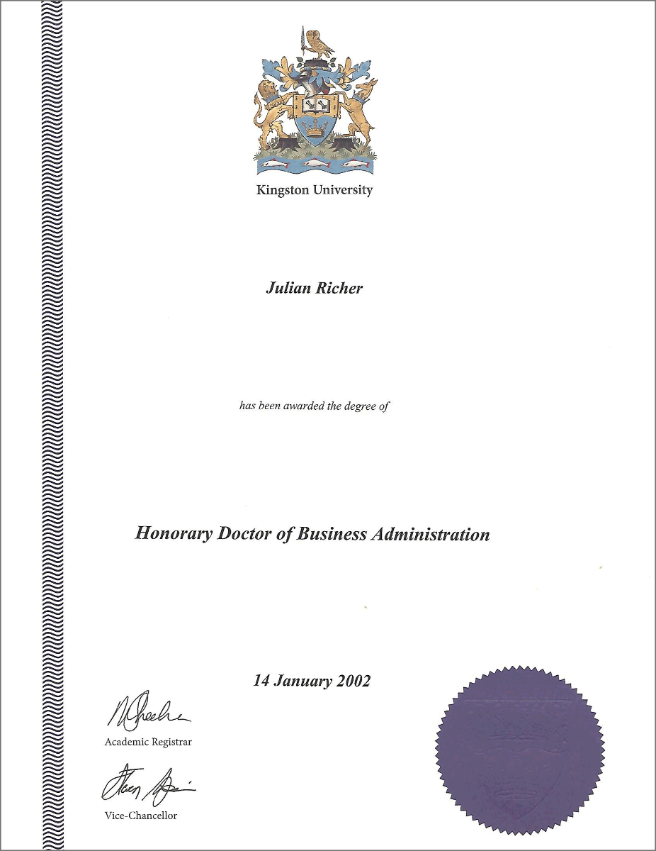 Kingston University's Honorary Doctorate