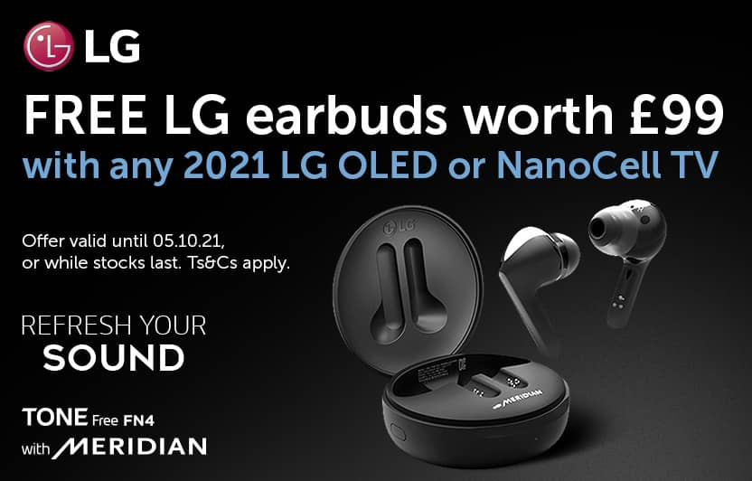 Free LG FN4 earbuds with any 2021 LG OLED or NanoCell TV