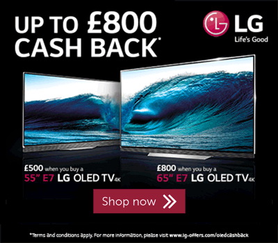 Up to £800 cashback on selected LG E7 TVs
