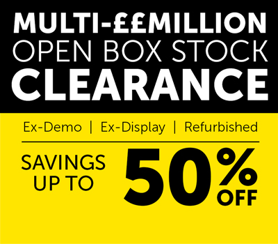 Multi-£Million open box stock clearance. Savings up to 50%.