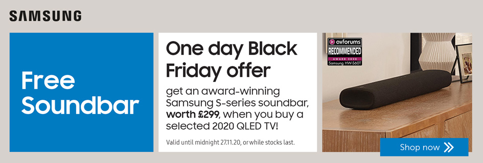One day Black Friday offer - Free Samsung S60 with selected QLED soundbars