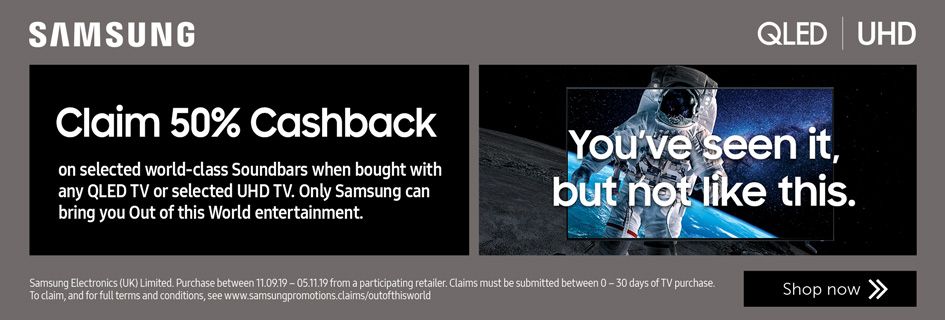 Claim 50% Cashback on selected Soundbars when bought with any QLED or selected UHD Samsung TVs