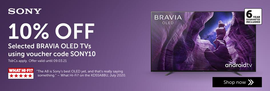 Sony 10% OFF Bravia TVs - SONY10 - 09.03.21