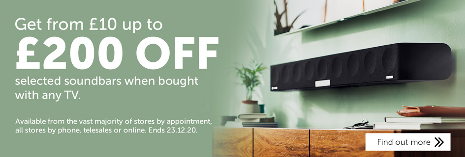 Save £10-£200 on selected soundbars when bought with any TV