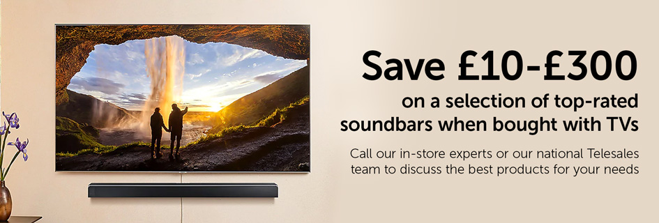Save £10-£300 on a selection of top-rated soundbars when bought with TVs
