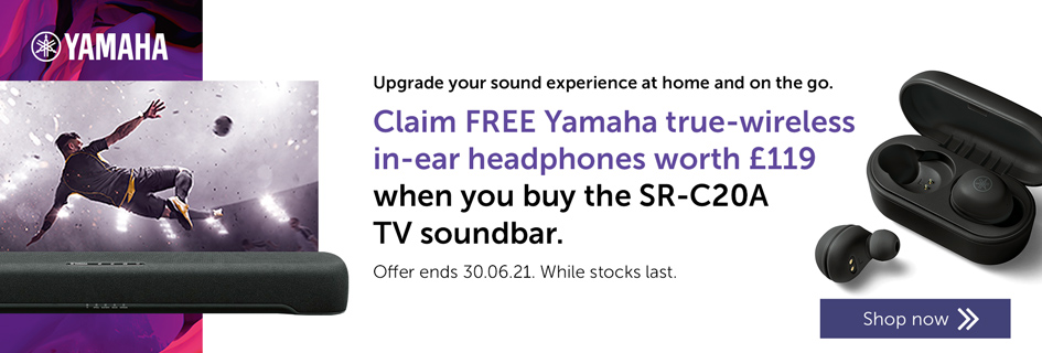 Claim FREE Yamaha true-wireless in-ear headphones worth £119when you buy the SR-C20A TV soundbar - Soundbars